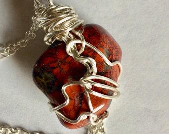 Brecciated Red Jasper Wire Wrapped Stone Pendant