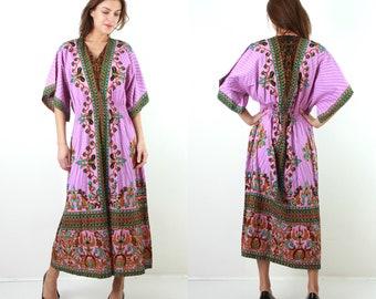 Vintage Maxi Dress / Vintage Kaftan / Vintage Caftan / Purple Dress / Cotton Dress / Summer Dress / Waisted Maxi Dress / Oriental Dress
