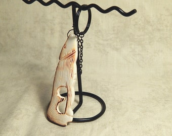 Carved and Burned Bone Coyote With Black Keychain