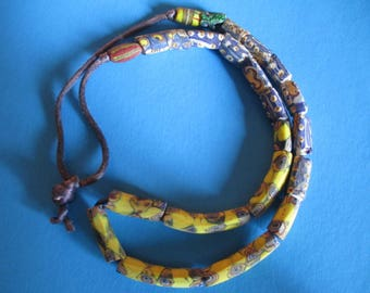AFRICAN TRADE BEAD Necklace, African Trade Beads, Yellow Blue African Trade Beads, African Necklace