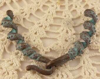 Twisted Swirl Cord End Closure Clasp, Blue Patina Rustic Unique Necklace Clasp, Mykonos Casting (1) - X6006