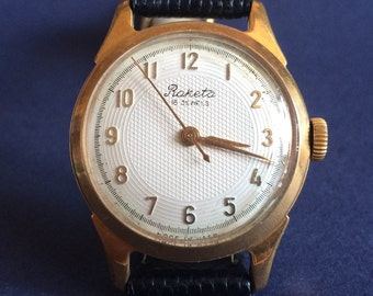 "RARE Vintage men's watch ""ROCKET"" (Raketa) 2609 mechanical gold-plated Soviet wristwatch with a guilloche dial - montre homme"