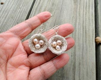 Sterling Silver Bird nest Earrings, Silver birds nest earrings, Nest earrings,Pearl Nest Earrings, pink ,blush pearl earrings
