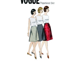 60s uncut A-line Skirt pattern SALE Secretary Skirt pattern vintage 36-28-38 Waist 28 Wool Skirt pattern Vogue 1354