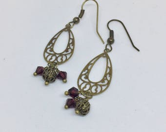 Antique Brass Crystal Filagree Earrings