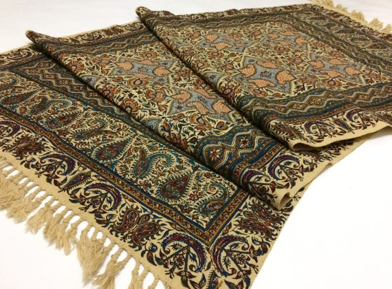 "hand printed 60"" inches Table runner , traditional handmade tapestry , natural dyes with tassels"