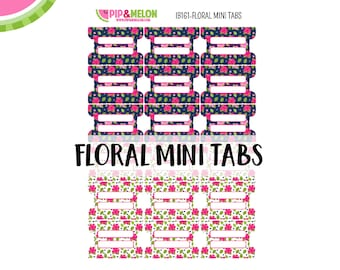 Floral MINI Tab Stickers  | 18 Kiss-Cut Stickers | Planner Tabs, Midori Tabs, Bible Tabs, Divider Tabs, War Binder Tabs | IB161