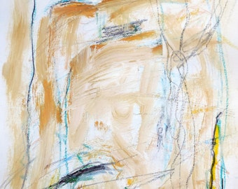 Landscape -  4-22-14a  (abstract expressionist painting, pastel, blue yellow, tan, white, cream)
