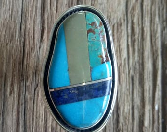 Turquoise and Lapis Inlay Statement Ring - Handmade Sterling Silver Boho statement ring with geometric inlay - Boho statement - size 8.5