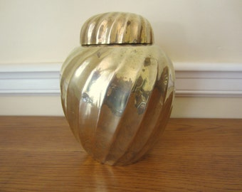 Swirling brass ginger jar.  Vintage brass urn.  Hollywood Regency style brass decor.