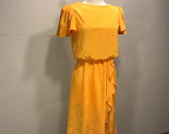 Jody of California secretaries dress 80s butterfly sleeve elastic waist flouncy  graffiti print yellow dress