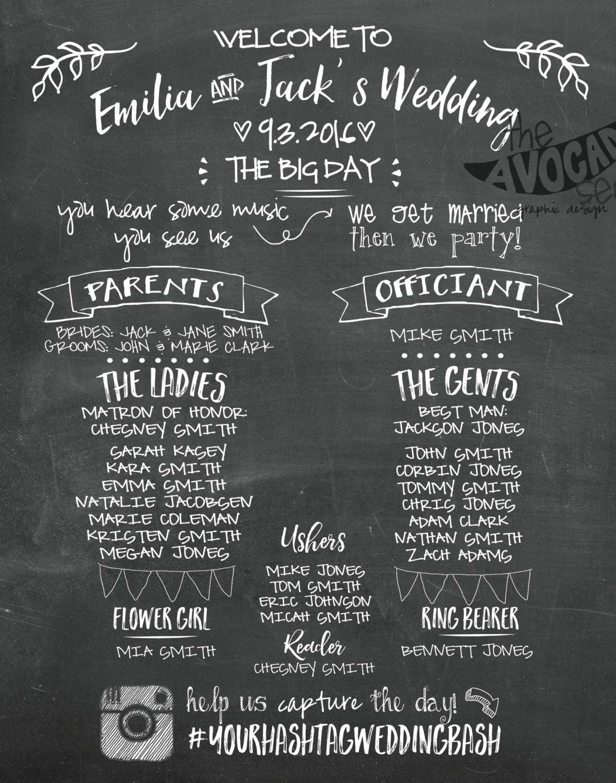 Super Spaß Tafel Hochzeit Programm Poster zum Ausdrucken