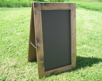 Extra large sidewalk chalkboard sandwich chalkboard easel chalk board dark walnut stain two sided A frame outdoor menu sign 40 x 24 inches