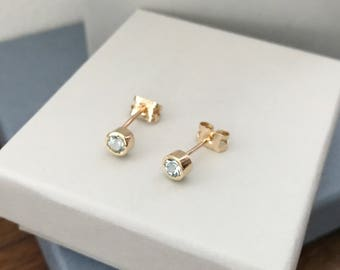 Aquamarine stud earrings 9ct yellow gold aquamarine studs rubover birthstone studs