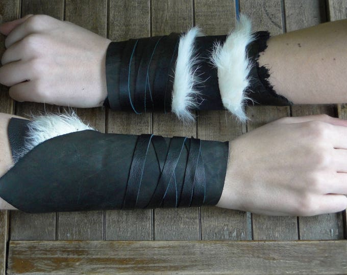 Leather Cuffs - Warrior Viking Tribal Larp Costume Cosplay - Pair #10c