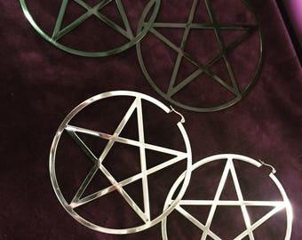 """Large pentagram hoops 3"""""""