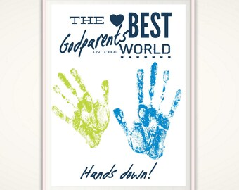Godparent Gift - Godparent Print, Personalized Gift for Godparents, INSTANT Download Handprint Art, Baptism Gift, Christening, PRINTABLE