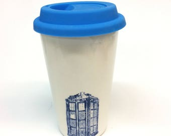 Doctor Who Tardis or Weeping Angel Ceramic Travel Mug