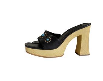 90s Platform Shoe Platform Heel High Heel Sandal 90s Platform Sandal Vegan Shoe Boho Sandal Black Sandal Studded Shoe Boho Shoe Boho Sandle