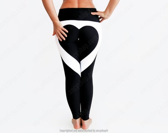 Heart Leggings in Black and White with Tummy Control Waist for Yoga or Sports