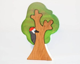 WALDORF Tree toy Waldorf nature table Wooden Tree Toy Tree figurine Woodland set puzzle