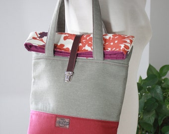 Roll tote bag, large tote bag, big bag, tote bag canvas, canvas bag