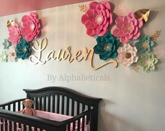 SHERRY Wooden Letters for Nursery Girl Boy Name Sign Wall Letters Wall Decor Wooden Nursery Decor Name Sign LARGE Script Alphabeticals