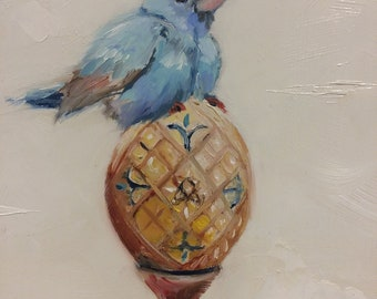 Bluebird for Happiness Oil Painting