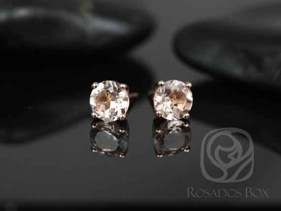 Rosados Box Donna 6mm 14kt Rose Gold Morganite Leaf Gallery Basket Stud Earrings