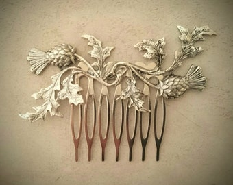 Silver Scottish Thistle Hair Comb Leaf Hair Comb Branch Hair Comb Wedding Hair Piece Bridal Hair Accessories Scottish Wedding