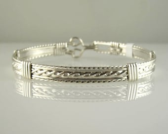 WSB-0165 Handmade .925 Sterling Silver Wire Wrapped Bangle Bracelet