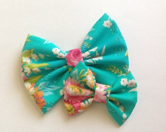 Teal Flower Bow | Fabric Bow | Handmade Hair Bow | Hair Clip | Headband