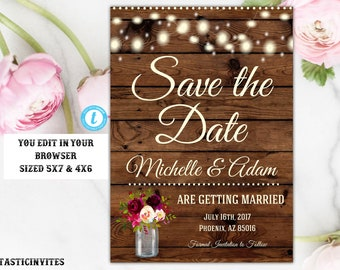Rustic Save the Date Template, Save the Date Template, Instant Download, Rustic Wedding, Template, Digital, Printable, Save-the-Date, DIY