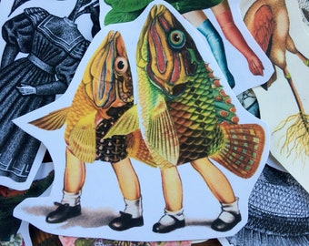 Take My Fin Joe #8 surreal collage art handmade paper sticker japan