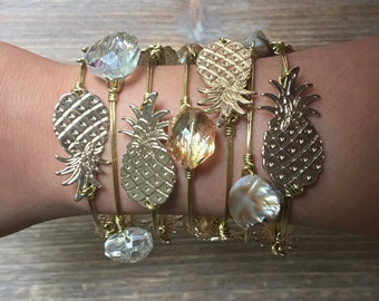 Pineapple Gold Wire-Wrapped Bangle Bracelet