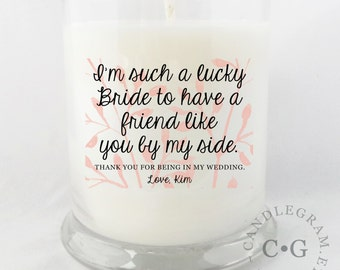 CandleGram 10oz. Soy Candle.... Personalized Bridesmaid Thank You Candle, Bridesmaid Gift