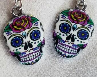 Purple and blue Sugar Skulls, Dia De Los Muertos, day of the dead, skull dangle earring