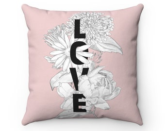 Floral Love Pink Spun Polyester Square Pillow