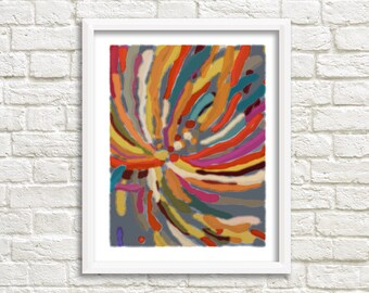 abstract flower - abstract firework - firework - bold colors  - rainbow print - multicolor print - cheerful wall art - bright artwork