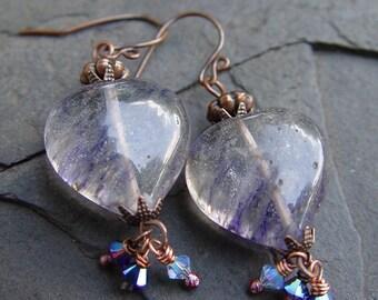 Blueberry Hearts Quartz Gemstone and Swarovski Crystal Dangle Earrings