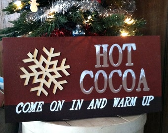 Gift, Hot Cocoa handpainted wood sign, christmas signs, wood signs, winter signs, home decor, kitchen decor, kitchen signs