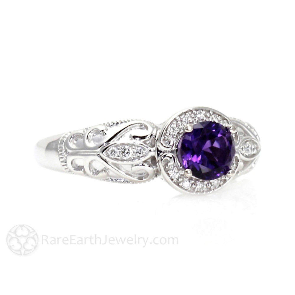 diamond white amethyst engagement gold and pear ring purple rings