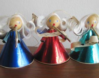 3 Vintage Foil & Wood Singing Angel Christmas Decoration Ornaments
