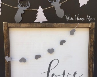 Love, with heart garland