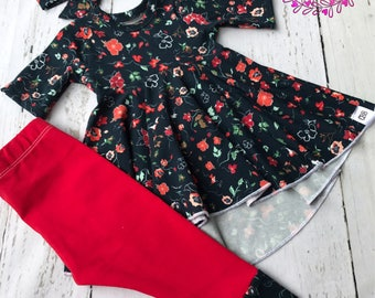 Baby girl clothes , Baby girl dress top , leggings and headband , baby outfit , baby girl fall outfit newborn to 4t size