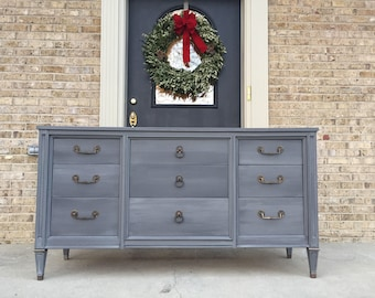 FREE SHIPPING - Vintage Century Buffet Dresser Chest Sideboard in Shades of Grey