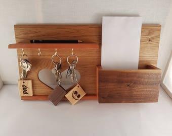 Amazing Oak and Walnut letter and key storage- wooden letter rack- mail and key storage -solid oak- beautiful home decor letter storage