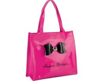 fushia bowknot decoration patent handbag