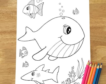 Cute Happy Whale Coloring Page! Downloadable PDF file!
