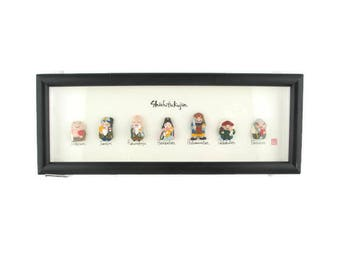 Seven Lucky gods  Shadow Box / 七福神 ShichiFukujin /3D Gods of Fortune Framed Figurines/ Seven Immortal gods of Japan Art / Feng Shui Deities
